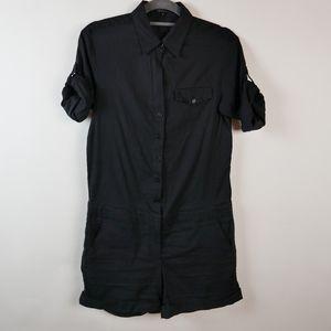 THEORY Black Summer Linen Onesie, Cargo Style